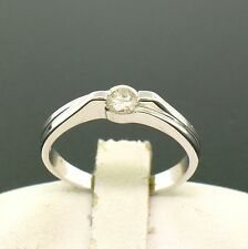 18k Solid White Gold 0.22ct Round Brilliant Diamond Solitaire Band Promise Ring