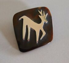 VTG MCM SIGNED TAXCO MEXICO STERLING SILVER DEER GAZELLE PIN,FAUX TORTOISE SHELL