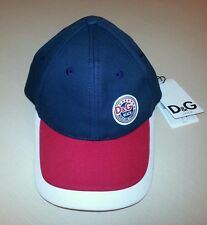 NEW DOLCE & GABBANA MEN NAVY BLUE RED COTTON LOGO BASEBALL HAT CAP SZ ADJUSTABLE