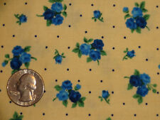 Afternoon Tea Rose Set Dot Floral Blue Yellow Cotton fabric BTY by the yard