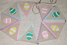 Jute Hessian Easter Egg Bunting Garland Felt Egg Hunt Party Home Decor 180cm