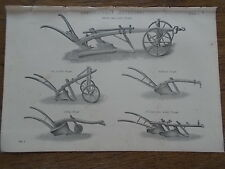 c19th c1870 Engraving Print Plate Agricultural Implement Kentish Norfolk Ploughs