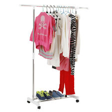 Adjustable Portable Clothes Hanger Rolling Garment Rack Heavy Duty Rail WT