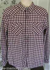 Mambo Australia Plaid Long Sleeve Music Eighth Notes Pearl Snap Shirt L