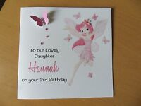 HANDMADE PERSONALISED GIRLS PRETTY FAIRY BIRTHDAY CARD  ANY, AGE, NAME ETC