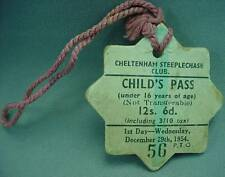 Cheltenham Steeplechase Club Childs Day Pass Badge Dec 29th 1954 Horse Race Hunt
