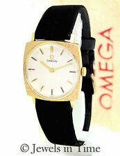 Omega Vintage 14k Yellow Gold Ladies Watch Box & Papers