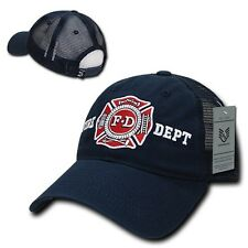 Blue Fire Dept Department Fireman Rescue Badge Polo Trucker Baseball Cap Hat