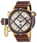 New Invicta 16194 Russian Diver Nautilus Swiss Mechanical Brown Leather Watch
