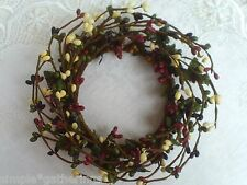 "4"" Pip Berry Candle Ring Wreath - DEEP RED / BLACK / GREEN / TAN Pips Crafts"