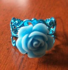 bague filigrane bleue réglable adulte rose bleue diamètre 14 mm