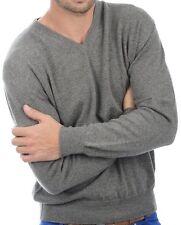 Balldiri 100% Cashmere Herren Pullover V Ausschnitt graubraun meliert XXXL