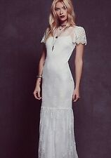 Free People White Sophia Lace Gown Wedding Maxi Dress Small Retails $500.00