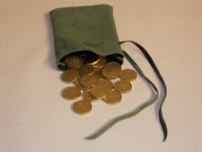 Medieval/Larp/SCA/Pagan/Reenactment Green Leather DRAWSTRING MONEY POUCH/ BAG