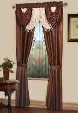 Luxurious AMORE Panel w attached valance 5 pc.window curtain set  brown