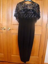 Stunning MR BLACKWELL Custom Vtg 60s Dress w/ Sparkle Beaded Lace Drape Neckline