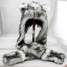 Wolf Animal Hood Hoodie Hat Faux Fur with Scarfs&Mitten 3in1 Function Long Flap