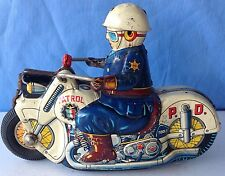 Police Patrol Motorcycle USAGIYA Japan Tin litho Toy, Friction mech is faulty
