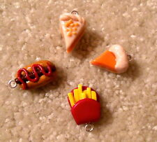 4x Handmade Polymer Clay Food Charms - Pie, French Fries, Hot Dog - Tasty Treats
