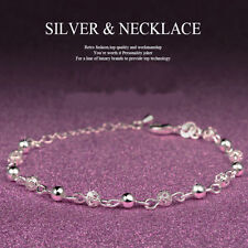 New Women Silver Plated Crystal Chain Bangle Cuff Charm Bracelet Jewelry