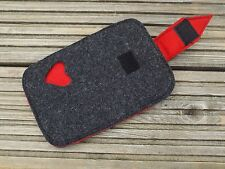 HANDMADE Felt Red Heart Smart Phone Case Sleeve ~ IPhone ~ Samsung Galaxy