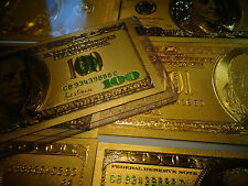A LOT OF 3  24 KT 999.9% GOLD BILL SET($100)+($2)+($100 GREEN)EACH IN PVC HOLDER