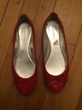 Banana Republic Red Patent Leather Flats Shoes, Bow Toe, Size 7.5
