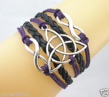 Double Infinity /Triquetra Charms Leather Braided Bracelet Pretty (Purple/Black)