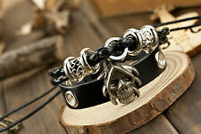 unisex punk rock black Leather skull adjust Surfer tribal cross bracelet cuff 1p