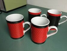 Department 56 CHICKEN COOP Porcelain Mugs, 2 Red 2 Black and Fried Egg!