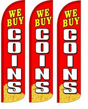 We Buy Coins Windless Standard Size Swooper Flag Sign Banner Pk of 3