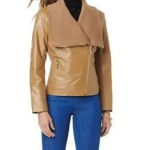 Women's Winter Fall Spring Motocycle 100% Leather short Jacket knit trim plus 2X