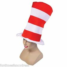 Children's Red & White Striped Tall Top Hat Fancy Dress Cat In The Hat Sized Hat