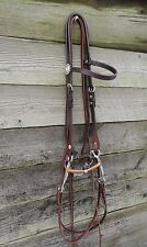 STAR Concho TOOLED Western Horse Bridle w Ball Center Tom Thumb Bit & NRS Reins