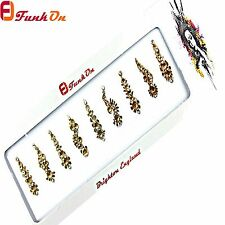 10 GOLD FANCY BRIDAL BINDI*SELF-ADHESIVE DIAMANTE WEDDING TIKKA GEM FBGOL10