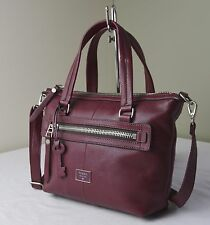 Fossil Wine Red Leather Dawson Satchel
