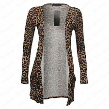 Ladies Women's Long Sleeve Animal,Stripe Print Open Cardigan Top With Pockets