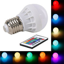 3W E27 RGB LED Light Bulb Lamp Color Changing+IR Remote Control AC85-265V 150LM