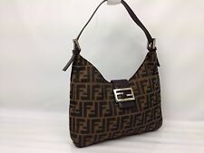 Authentic FENDI Zucca Pattern Logos Shoulder Bag Brown Made In Italy  7B120700m