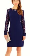 COAST SHANNON BLUE PURPLE SHEER LACE SLEEVED SHIFT DRESS 12 WORN ONCE