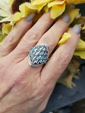 Glacier Blue Topaz Marquise Open Cluster Ring, Sterling Silver, Size 7