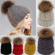 Women Large 15cm Ball Warm Wool Knit Raccoon Fur Pom Beanie Bobble Ski Hat Cap