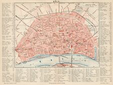 B6129 Germany - Cologne town plan - Carta geografica antica del 1890 - Old map