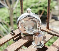 Kikkerland Stainless Steel Hip Flask & Collapsible Shot Glass Pocket Size Gift
