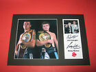 RICKY HATTON & JOE CALZAGHE BOXING A4 PHOTO MOUNT SIGNED REPRINT AUTOGRAPHS