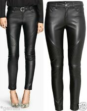 H&M 42 / UK 16 SKINNY BIKER LEDERHOSE KUNSTLEDER FAUX LEATHER TROUSERS LEGGINGS