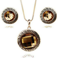 18K GOLD PLATED & GENUINE CUBIC ZIRCONIA BRONZE NECKLACE & EARRING SET
