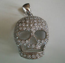Silver Finish With Clear Crystal Hip Hop Bling Fashion Skull  Pendant