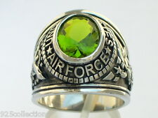 Stainless Steel United States Air Force Military August Peridot Men Ring Size 14
