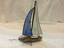 """Handmade Stained Glass Sailboat Blue-White 9023-E Size 7.25 L"""" x 2.5 D"""" x 8''H"""